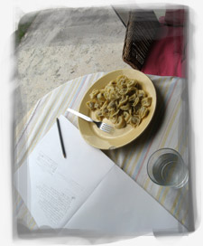 Morning with writing and pasta