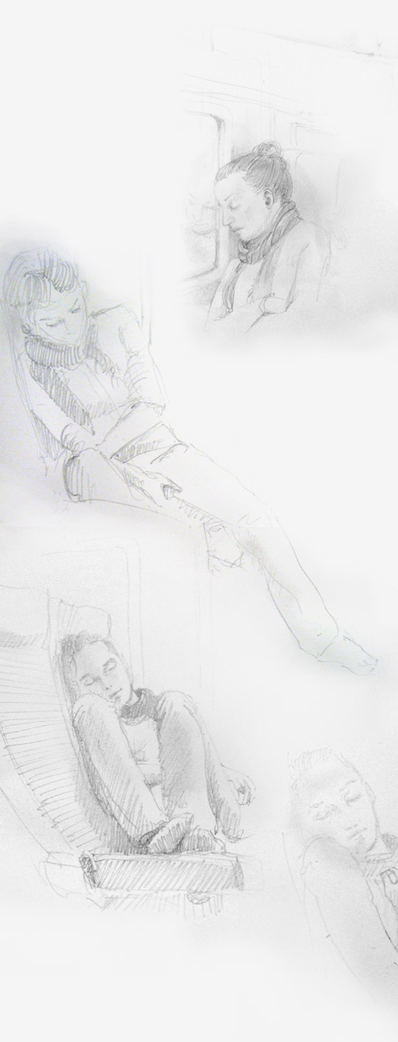 081006 Pencil Sketch of a girl sleeping in a train