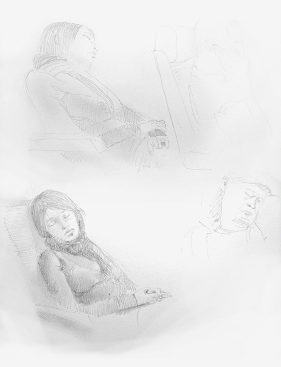 081006 Graphite Pencil drawing of a girl asleep in a train