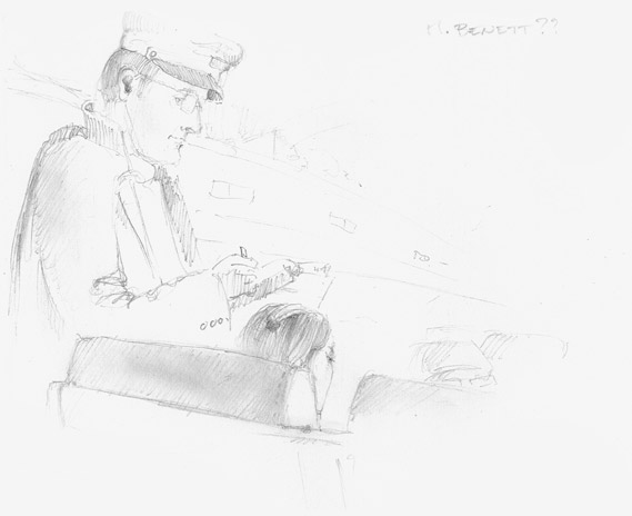 081006 Graphic pencil sketch of a railway agent controlling a girl
