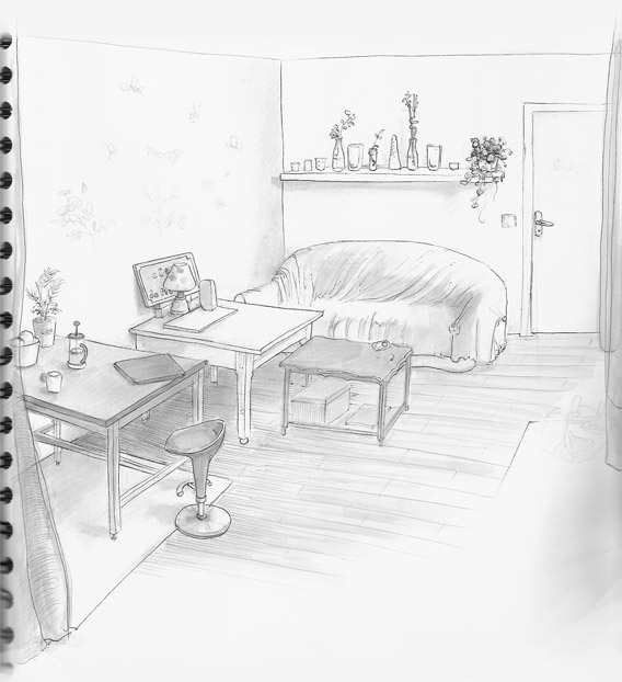 081004 My cousin apartment gray markers sketch by Zancan