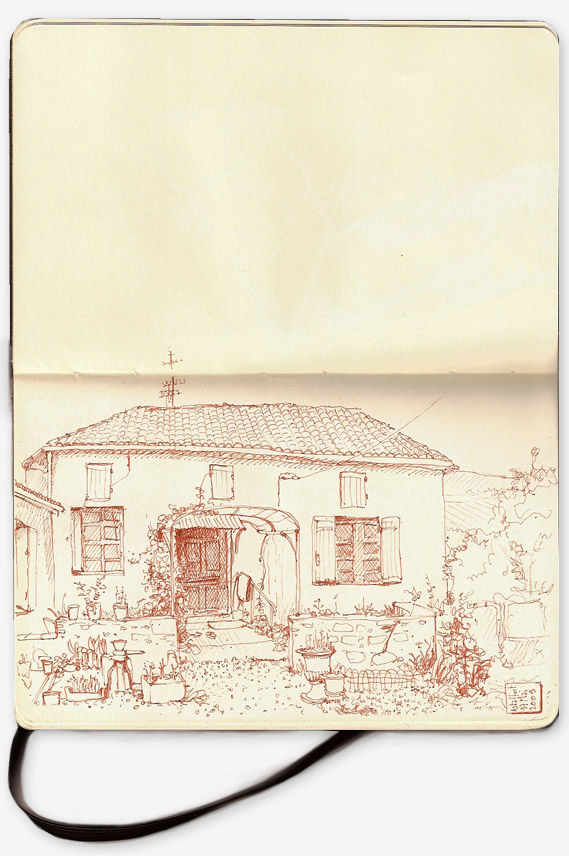 Drawing of Aunties' house in Astaffort, south west France