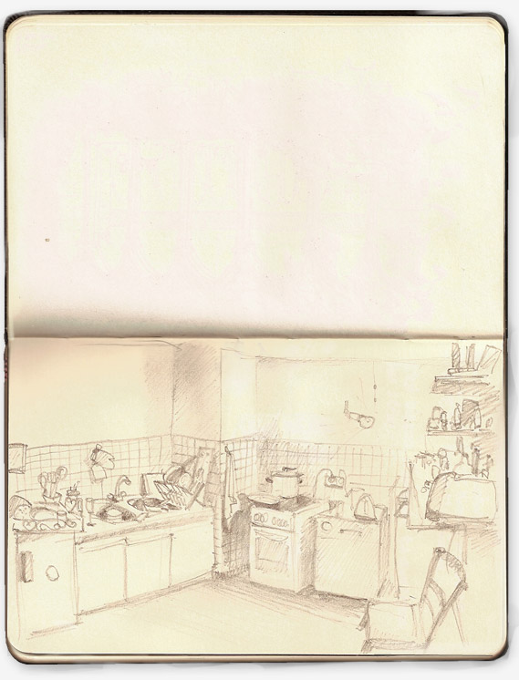 Insomniac drawing of a busy kitchen